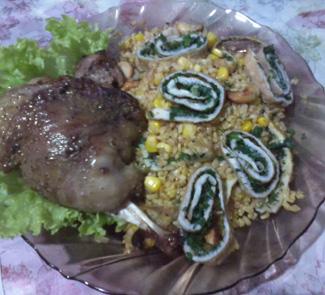 Рецепт Кролик в маринаде из вермута с особенным булгуром