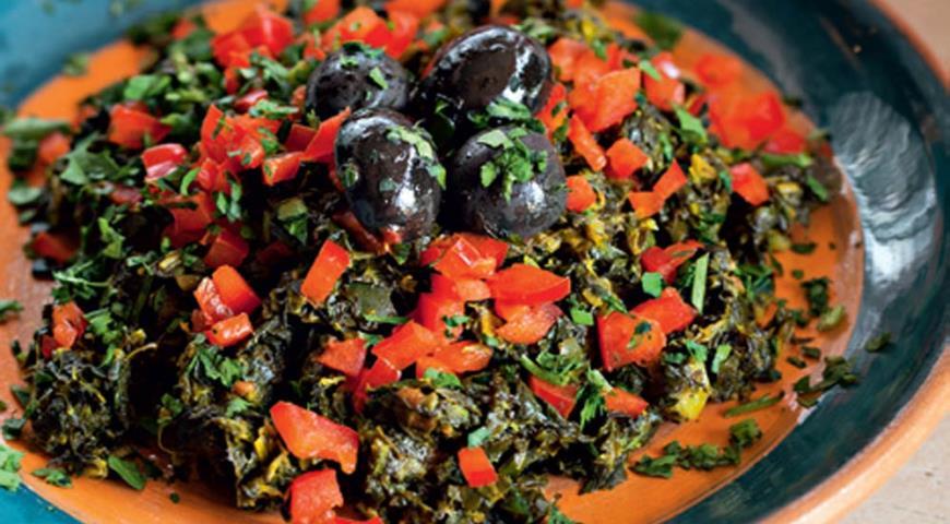 Рецепт Салат из шпината с чермулой