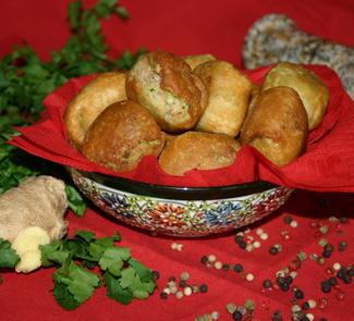 Рецепт Индийские пончики с креветками и ветчиной