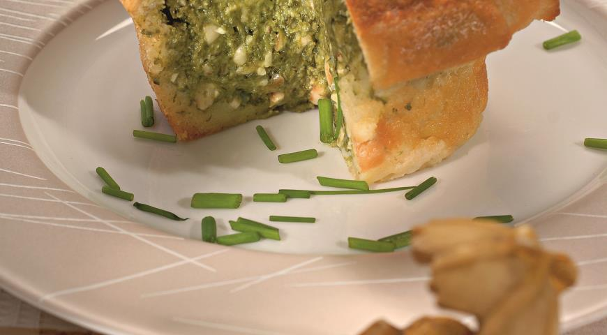 Рецепт Хлебный пудинг со шпинатом