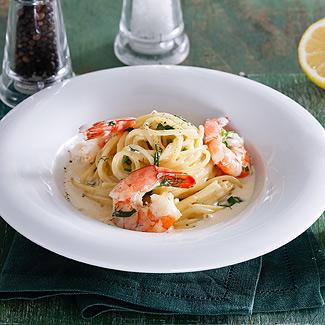 Рецепт Спагетти с креветками в сливочном соусе в мультиварке