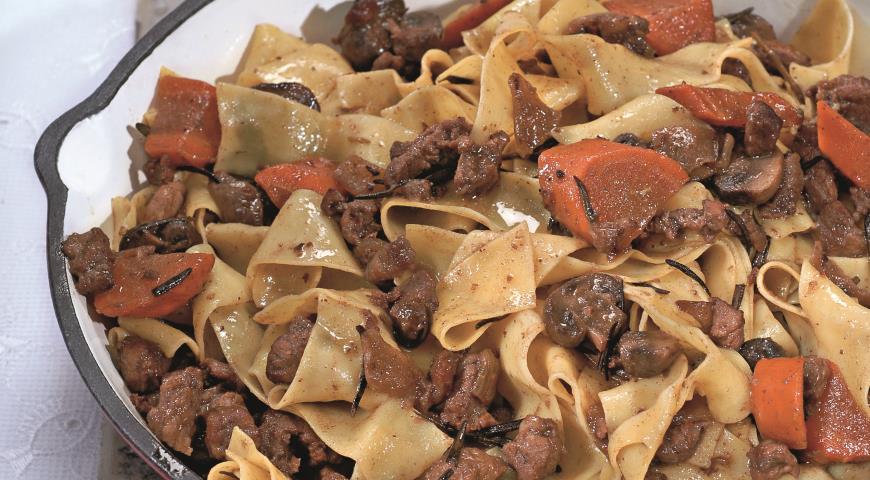 Рецепт Паппарделле с бараниной и грибами