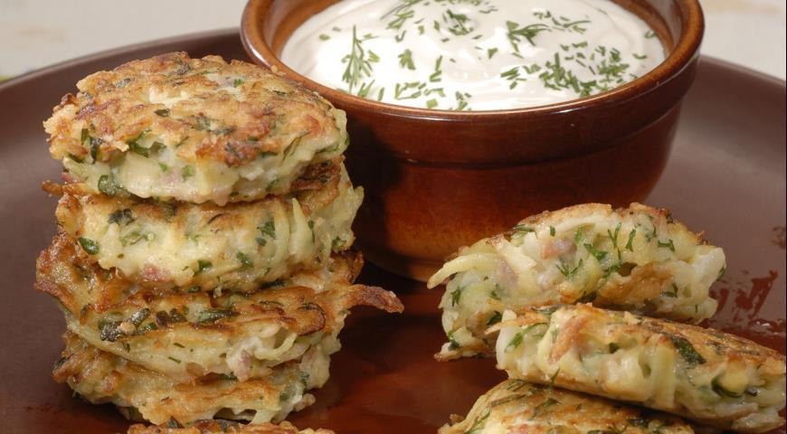Рецепт Картофельные оладьи с ветчиной
