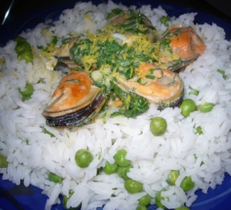 Рецепт Мидии в сливочно-зеленом соусе