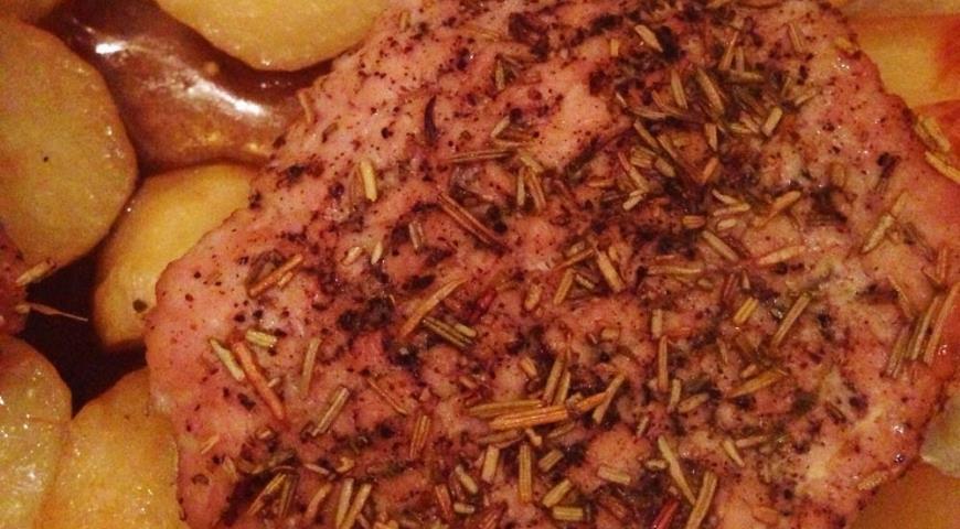 Рецепт Духовая свинина с картофелем и зеленью