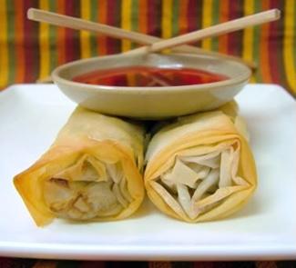 Рецепт Китайские блинчики из теста фило с креветками