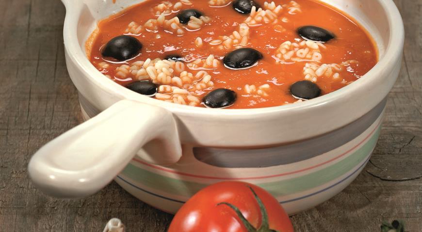 Рецепт Томатный суп с маслинами