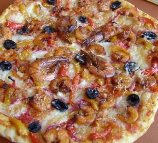 Рецепт Пицца с креветками и овощами