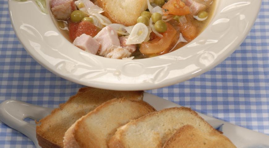 Рецепт Суп с окороком и шпинатом