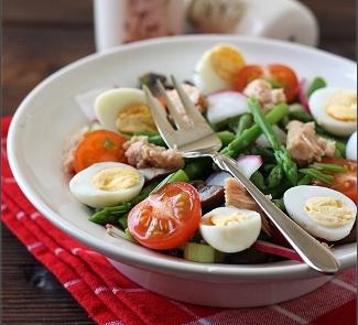 Рецепт Салат со спаржей , тунцом и перепелиными яйцами