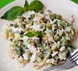 Рецепт Салат Зеленый из стручковой фасоли и курицы