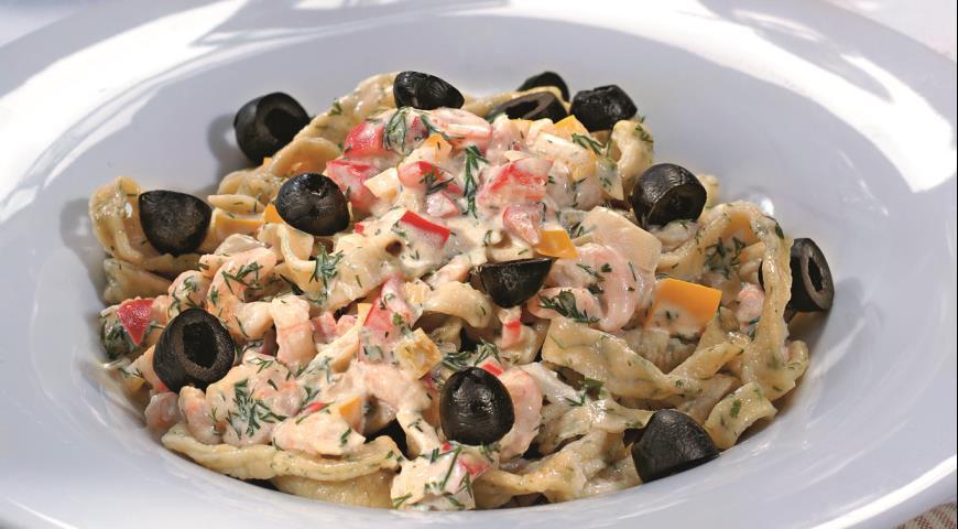 Рецепт Домашняя лапша с креветочным соусом
