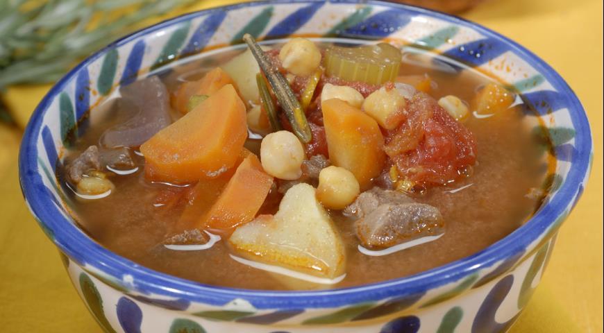 Рецепт Густой суп из говядины и нута