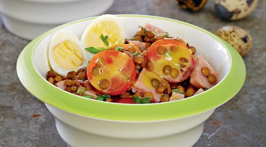 Рецепт Салат из чечевицы с помидорами черри
