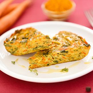 Рецепт Кугель с кабачком, шпинатом и морковью в мультиварке