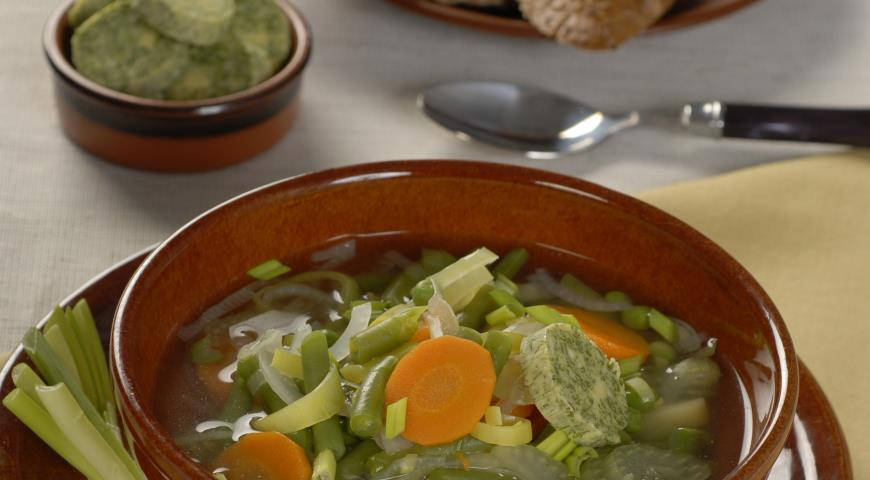 Рецепт Овощной суп с зеленым маслом