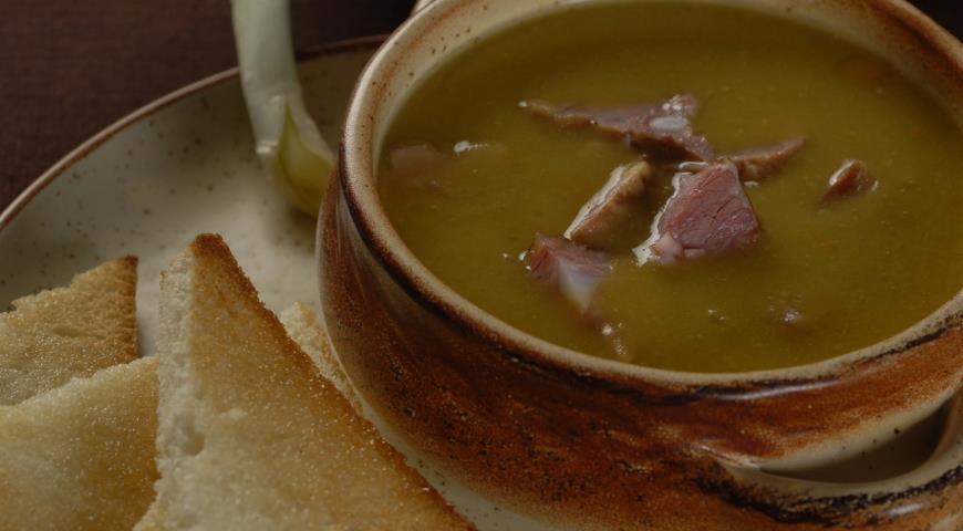 Рецепт Гороховый суп с чесночными тостами