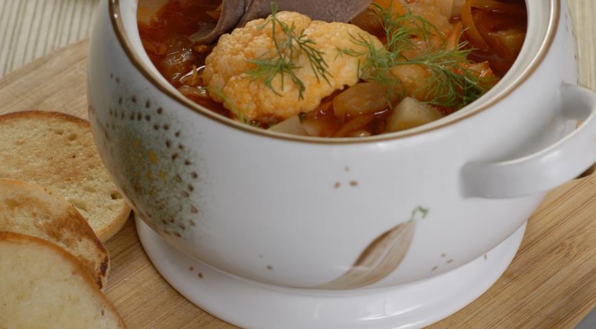 Рецепт Суп с языком, фасолью и цветной капустой