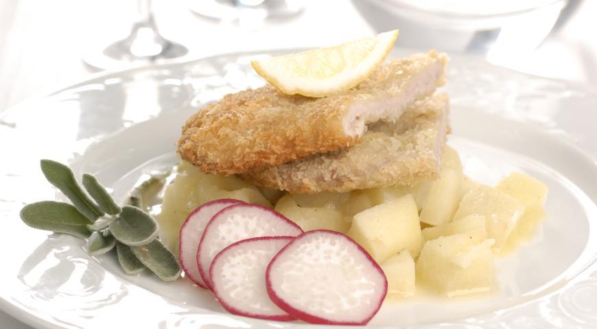Рецепт Свиной шницель с яблочным гарниром