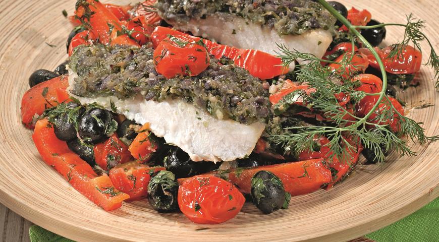 Рецепт Рыба с чермулой и овощами