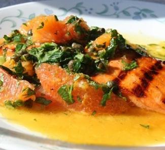 Рецепт Семга - гриль с цитрус сальса вердэ