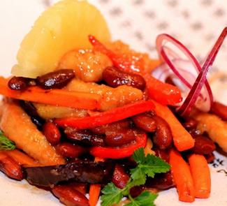 Рецепт Шляпка Мексиканки (Свинина с красной фасолью в кисло сладком соусе)