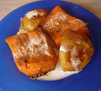 Рецепт Тыква и яблоки в сливочном соусе