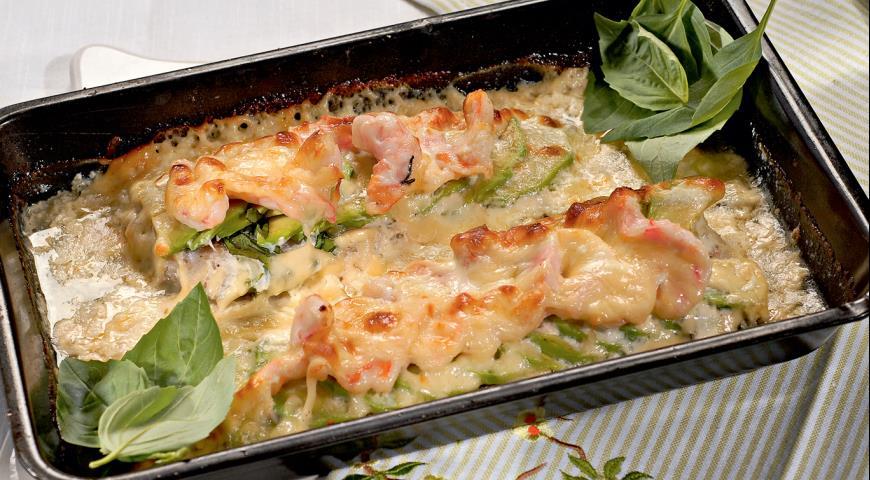 Рецепт Треска, запеченная с креветками