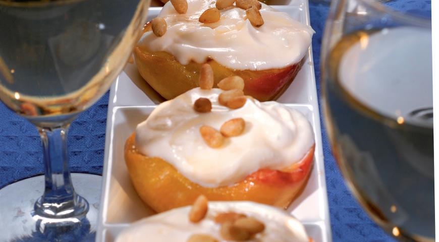 Рецепт Персики в меду с кремом