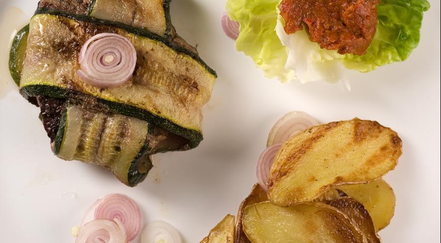 Рецепт Барбекю из баранины с овощами Крестики-нолики