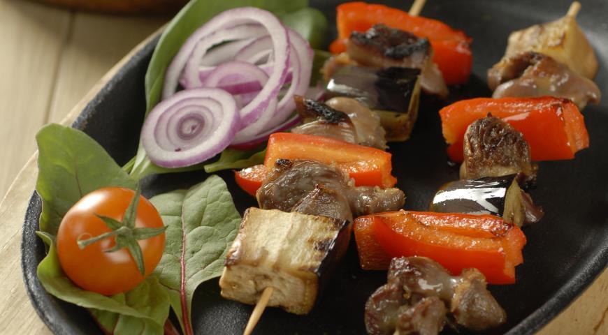 Рецепт Кебабы из куриных желудочков