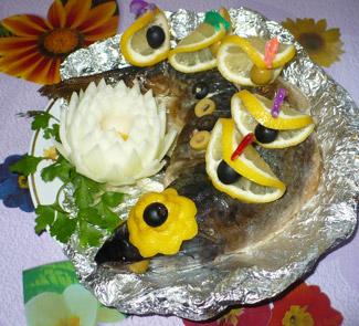 Рецепт Горбуша, фаршированная с морским языком