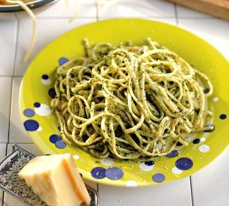 Рецепт Спагетти с песто из зеленого горошка