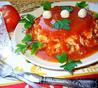 Рецепт Рыбное филе в томатном желе