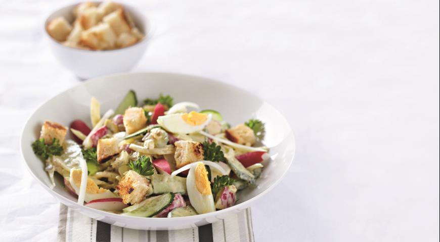 Рецепт Русский летний салат в стиле Цезарь