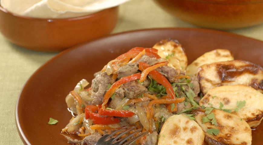 Рецепт Тжвжик из говяжьей печенки с картофелем