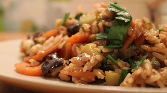 Рис с баклажанами и цукини, пошаговый рецепт с фото