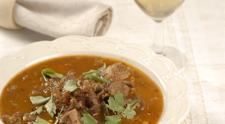Рецепт Мясной суп с баклажанами