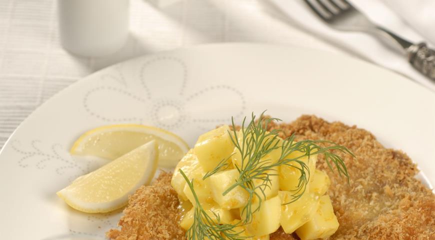 Рецепт Свиной шницель с яблочным соусом