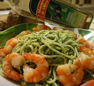 Рецепт Cпагетти с креветками и ароматными травами