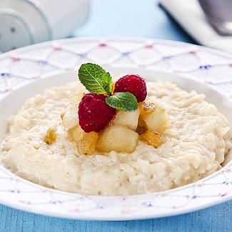 Рецепт Рисовый пудинг с яблочным конфитюром в мультиварке