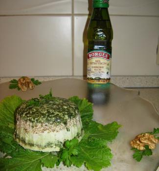 Рецепт Террин из сыра с эстрагоном, шпинатом и орехами