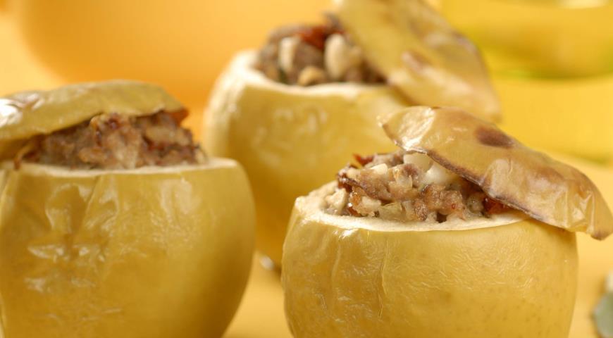 Рецепт Яблоки, фаршированные мясной смесью