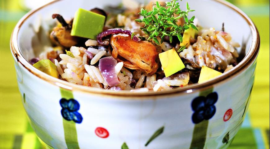 Рецепт Рисовый салат с мидиями