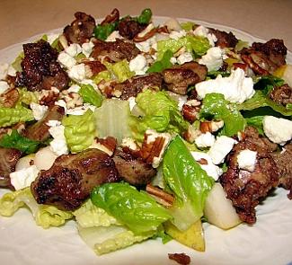 Рецепт Венецианский салат из куриной печени с грушами
