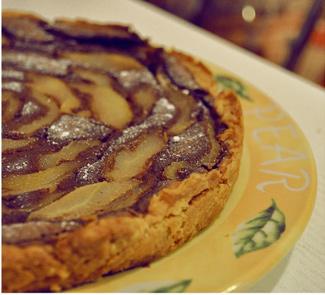 Рецепт Грушевый пирог с шоколадным заварным кремом на творожном тесте