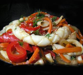 Рецепт Кальмар с овощами по-корейски