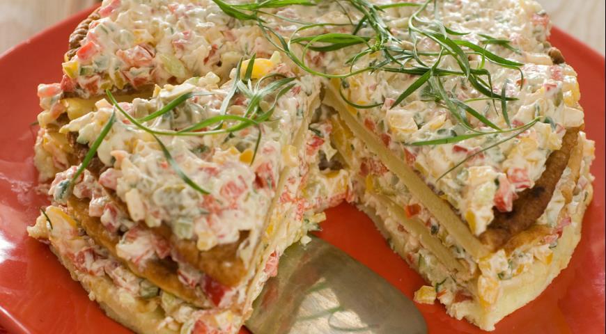 Рецепт Кабачковый торт с сырной начинкой