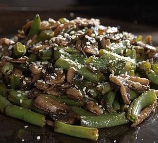 Рецепт Спаржевая фасоль с грибами