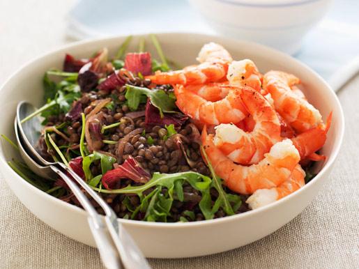 Рецепт Теплый салат из чечевицы с креветками